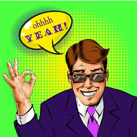 Vector pop art successful businessman showing ok hand sign Ilustracja