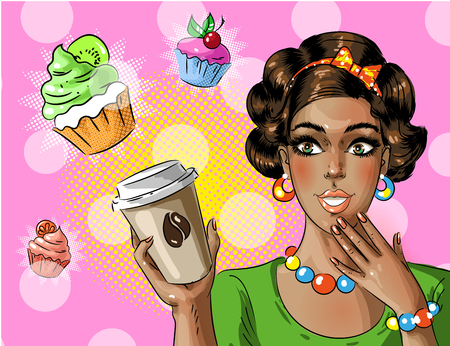 Vector pop art African american woman holding coffee to go.