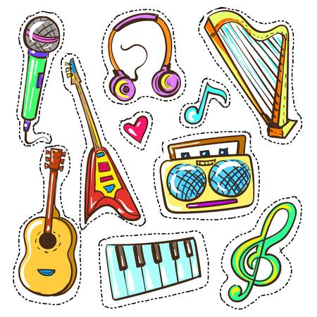 Vector hand drawn color musical instruments set illustration. Illustration