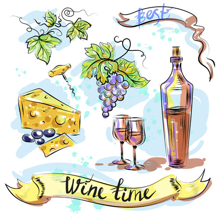 Watercolor best wine time concept sketch vector illustration.