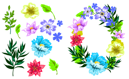 Vector hand drawn sketch style flower set illustration. Illustration