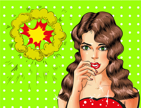 Vector pop art beautiful sexy brunette woman portrait.