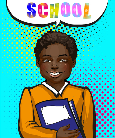 Vector vintage pop art African american schoolboy illustration. Illustration