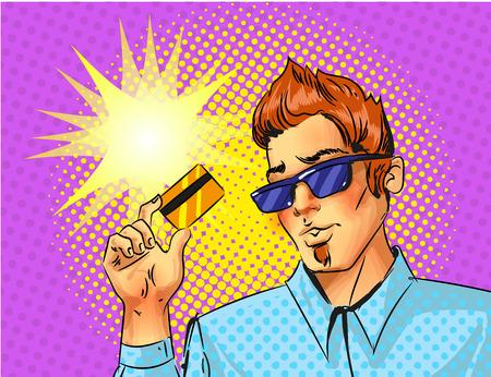 Vector pop art man with credit card illustration.