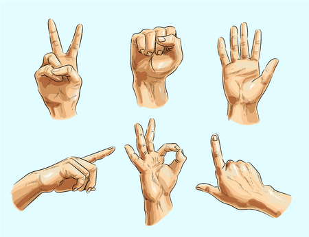 Vector male hand gesture icon set. Victory or peace sign, clenched fist, pointing finger, okay and other hand signs.