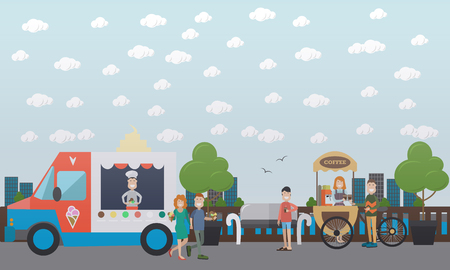 City embankment concept vector illustration with coffee bike and ice cream truck, buyers and sellers of icecream, coffee to go. Flat style design.