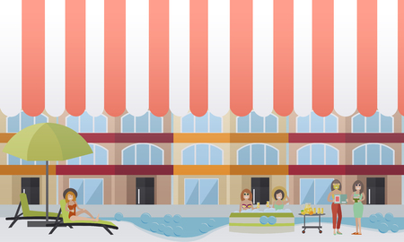 Vector illustration of young women enjoying the baths, cosmetic facial treatment and rest. Spa hotel services concept design elements in flat style.
