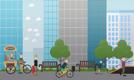 City street concept vector flat illustration