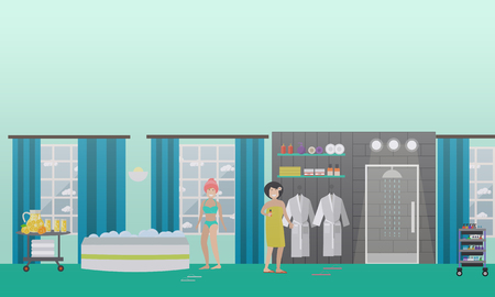 Vector illustration of young women enjoying spa water treatments and rest. Spa services concept design elements in flat style.