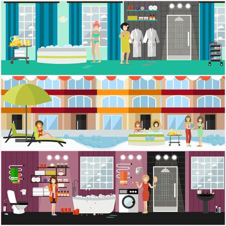 Vector set of spa aqua therapy concept posters, banners. Women taking baths and enjoying thermal water treatments, jacuzzi, aromatherapy at spa hotel, wellness centre. Flat style design. Ilustração