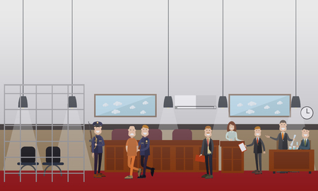 Vector set of legal trial scenes with lawyers questioning witness, security guard leading defendant with hands behind his back. Courtroom interior. Flat style design illustration. Illustration