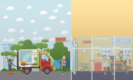 Professional cleaning services vector illustration. Cleaning specialists engaged in shop area cleaning. Cleaning business advertising concept. Flat style design.