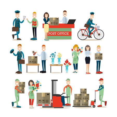 Vector illustration of postal service workers manager, postman, loader, packager and clients with parcels, florist creating flower arrangement. Flat style design elements isolated on white background.