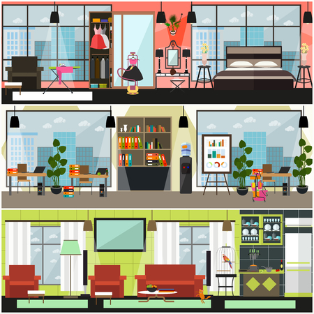 Vector home and office cleaning interior poster, banner set. Flat style design elements for cleaning company business advertising. Illustration