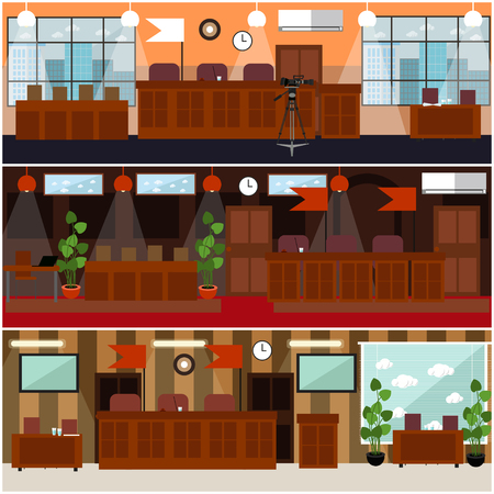 Vector set of courtroom interior posters, banners with jury box, furniture and equipment for court hearing. Flat style design illustration.