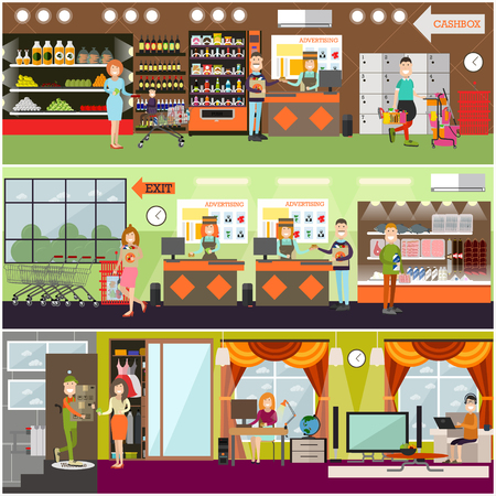 Vector set of posters with grocery store or supermarket interior with cashiers, buyers making purchases. Online shopping and delivery services concept design elements. Flat style design. Vectores