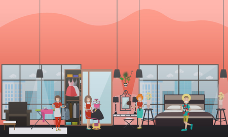 Vector illustration of cleaning women dusting furniture in hotel room, ironing clothing. Cleaning company services concept design elements in flat style.