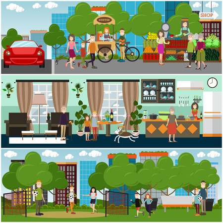 Vector set of posters with family characters engaged in domestic chores in house and taking rest outside. Family people walking in the street, cooking, playing football. Flat style design.