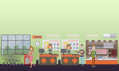 Vector illustration of grocery store interior with cashiers females and buyers males and female with paper bags. People making purchases concept. Flat style design.