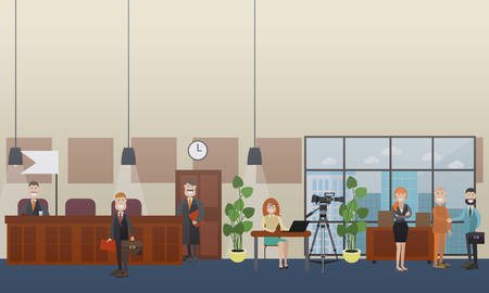 Vector set of legal trial scenes with judge, lawyers, woman recording court hearing. Courtroom interior. Flat style design illustration.