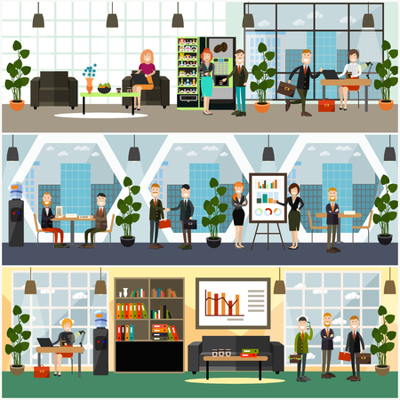 Vector set of posters, banners with modern work space interior and employees working on laptop, meeting with partners, giving presentation, taking coffee break. Office life concept, flat style design.