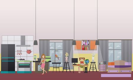 Vector illustration of family characters engaged in domestic chores. Mother holding bags with groceries and her cute daughter doing homework. Home interior. Flat style design.
