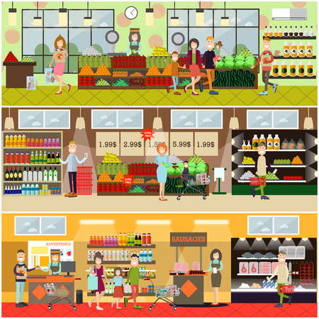 Vector set of posters with grocery store or supermarket interior with cashiers, promoters, buyers men, women, families. People making purchases concept. Flat style design.