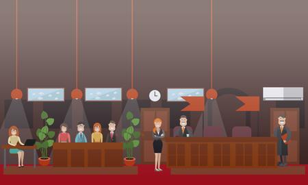 裁判官、陪審員、女性記録裁判所の審理と弁護士との法的裁判シーンのベクトルセット。法廷の内部。フラットスタイルのデザインイラスト。