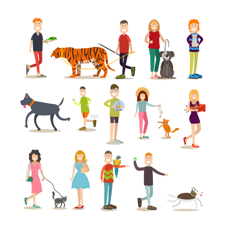 Pet owners with their animals vector flat icon set Stock Photo