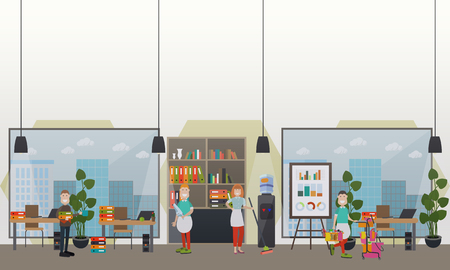 Professional office cleaning services vector flat illustration