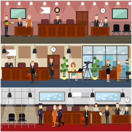 Legal trial concept vector flat poster set Stock Photo
