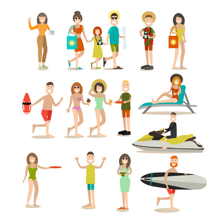 Summer people vector flat icon set