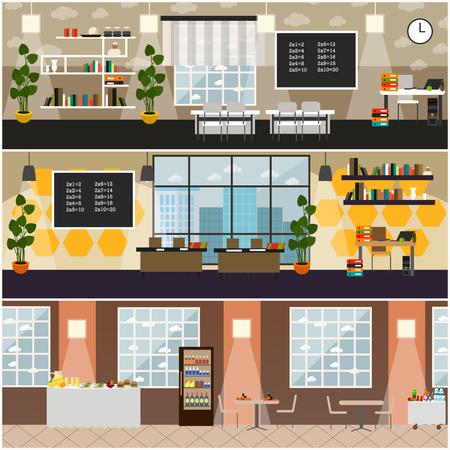 School interior vector flat poster set Vector Illustration