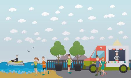 Training outdoors concept vector flat illustration Stock Photo