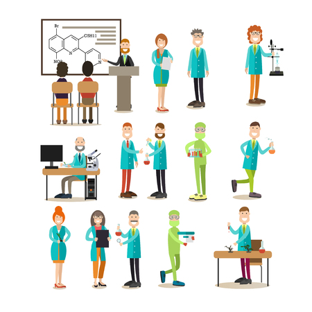 Group of science people flat icon set Stock Photo