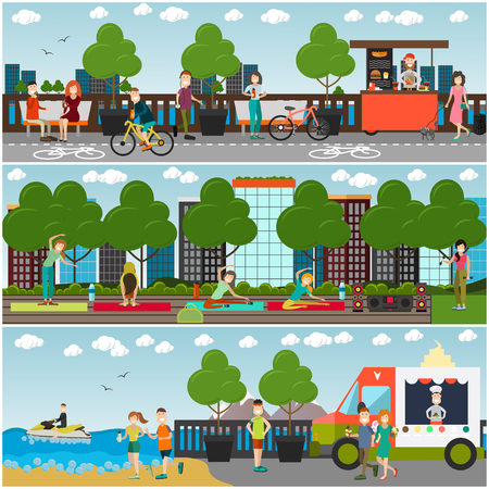Training outdoors concept vector flat poster set 写真素材
