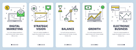 Vector set of vertical banners with Digital marketing, Strategic vision, Balance, Growth, Electronic business website templates. Modern thin line flat style design. Illustration