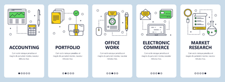 Vector set of vertical banners with Accounting, Portfolio, Office work, Electronic commerce, Market research concept web elements. Modern thin line flat style design.