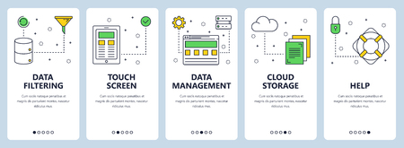 Vector set of vertical banners with Data filtering, Touch screen, Data management, Cloud storage, Help concept website templates. Modern thin line flat style design. Illustration