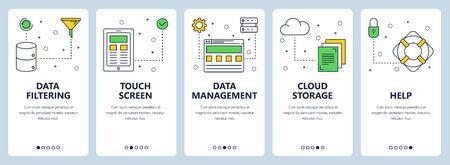 Vector set of vertical banners with Data filtering, Touch screen, Data management, Cloud storage, Help concept website templates. Modern thin line flat style design. Standard-Bild