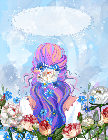 Vector illustration of young girl standing back and peony, forget-me-nots flowers around her in retro pop art comic style. Stock Photo