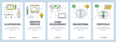 Vector set of vertical banners with Illustration, Creative process, Game development, Brainstorm, Portfolio website templates. Modern thin line flat style design. Illustration