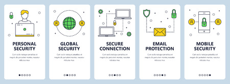 Vector set of vertical banners with Personal security, Global security, Secure connection, Email protection, Mobile security website templates. Modern thin line flat style design. Illustration