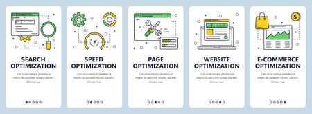 Vector modern thin line search optimization concept web banner set
