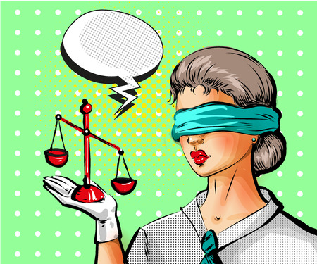 Vector pop art illustration of young woman with scales of justice