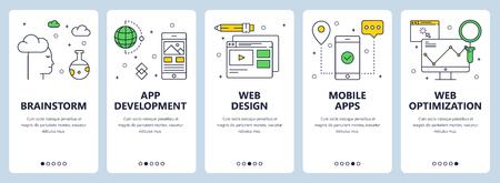 Vector modern thin line web development concept banner set Standard-Bild