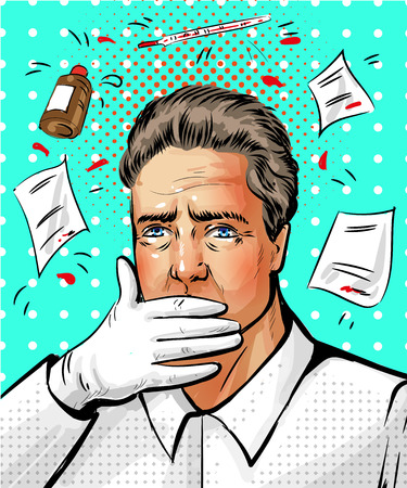 Vector pop art illustration of male doctor putting his hand over his mouth, prescriptions, pills, medicine bottle and thermometer around him. Illustration