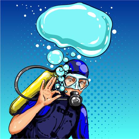 Plongeur Vector pop art montrant le signe de la main ok Banque d'images - 94642616