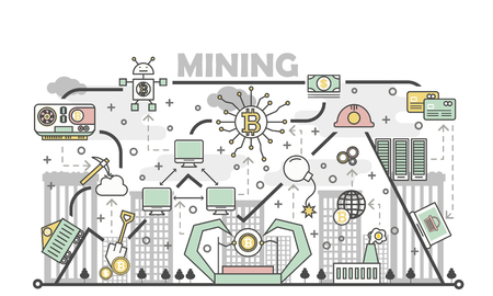 Bitcoin mining concept vector illustration in flat linear style Иллюстрация