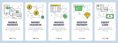 Vector modern info-graphics thin line payment vertical web banner set.